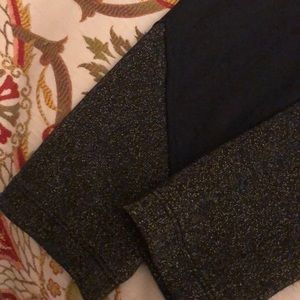 black athletic leggings with sparkly detail
